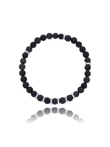 Bransoletka męska czarna z agatu BMMH2888