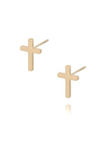 Kolczyki złote krzyżyki ze stali szlachetnej KSA0092