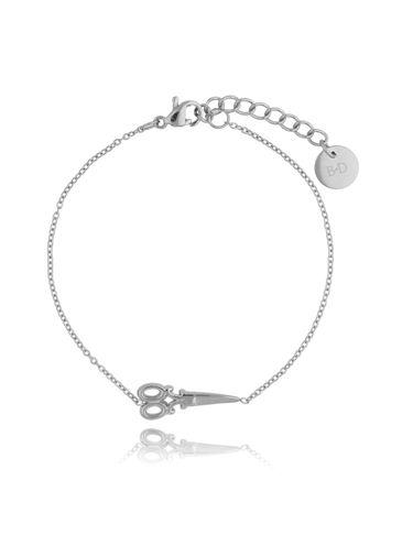 Bransoletka srebrna ze stali szlachetnej z nożyczkami BSA0119