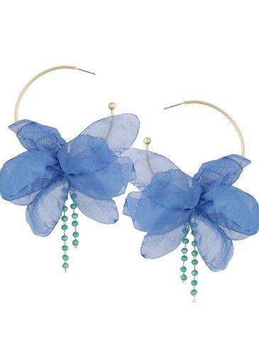Kolczyki jedwabne kwiaty niebieskie II KBL0827