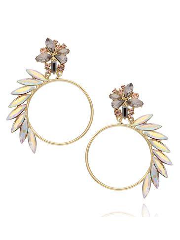 Kolczyki koła złote z tęczowymi kryształami KSS0813