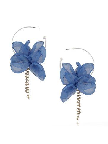 Kolczyki jedwabne kwiaty niebieskie KBL0418