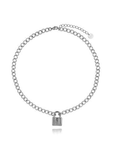 Naszyjnik srebrny łańcuch z kłódką ze stali szlachetnej NSA0124