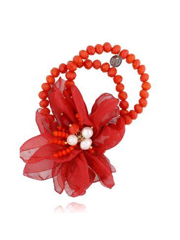 Bransoletka z kryształkami i jasno czerwonym kwiatem BBL0137