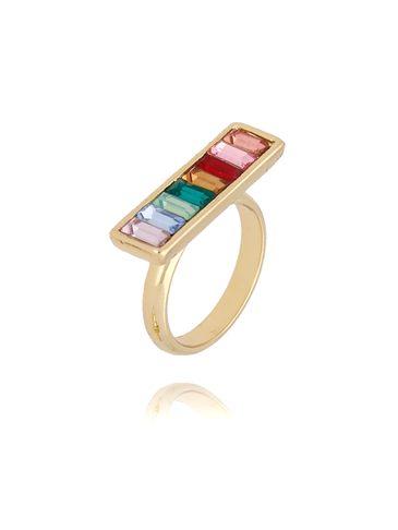 Pierścionek złoty z kolorowymi kryształkami PRG0115 rozmiar 13