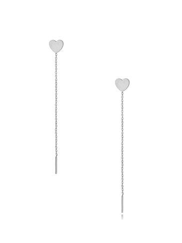 Kolczyki srebrne wiszące Long Heart KSA0300