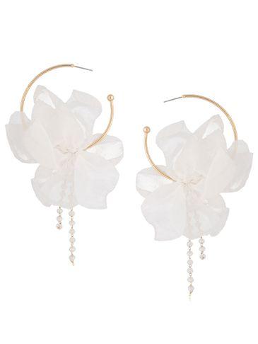 Kolczyki jedwabne kwiaty połyskujące białe KBL0809