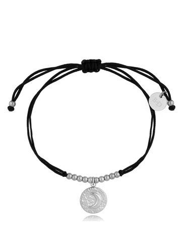 Bransoletka srebrno-czarna z okrągłą zawieszką Moona BGL0494
