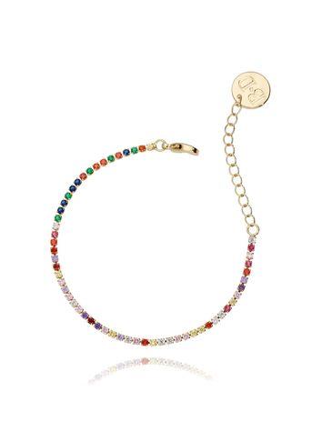 Bransoletka złota z kolorowymi cyrkoniami BMU0007
