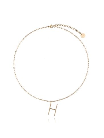 Naszyjnik ze stali szlachetnej złoty literka H mała NAT0164