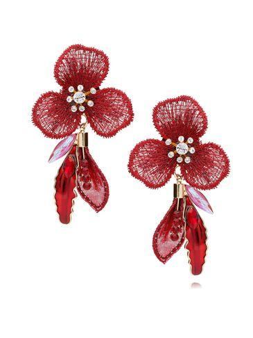 Kolczyki czerwone kwiaty z kryształkami i emalią KLI0005