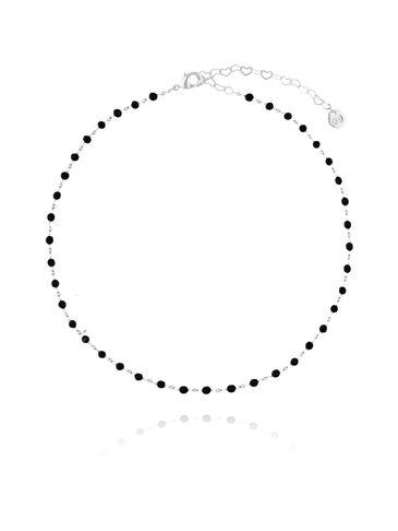 Choker Olivia srebrny z czarnymi kryształkami NOA0022
