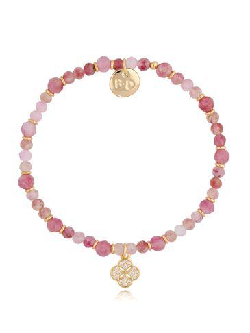Bransoletka różowa z jadeitami i zawieszką koniczyna z cyrkoniami BTW0480