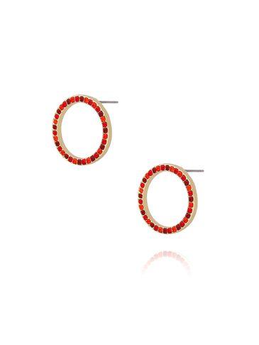 Kolczyki złote kółka z czerwonymi cyrkoniami KMU0031