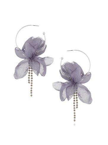 Kolczyki jedwabne kwiaty szary niebieski KBL0375