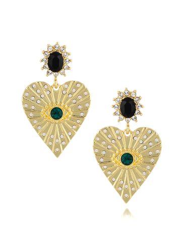 Kolczyki serca z zielonymi  kryształkami KRG0644