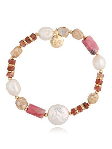 Bransoletka złota z rodonitami i perłami BPA0077