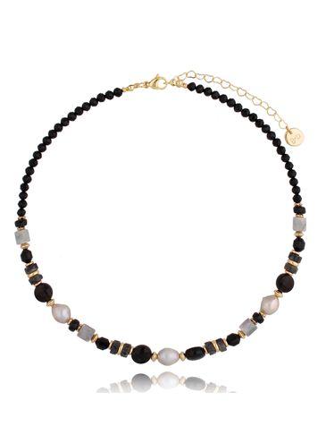 Naszyjnik z perłami, agatami i jaspisem Sandra NPA0435