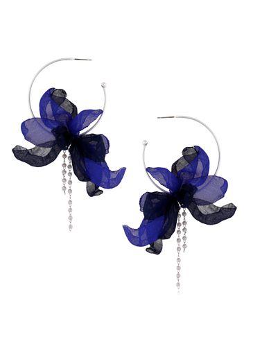 Kolczyki jedwabne kwiaty granatowe KBL0374