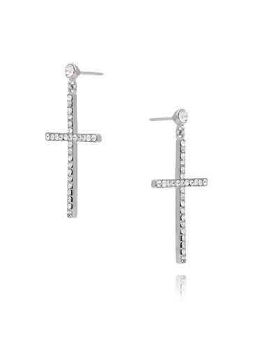 Kolczyki srebrne krzyżyki z transparentnymi cyrkoniami KRG0575