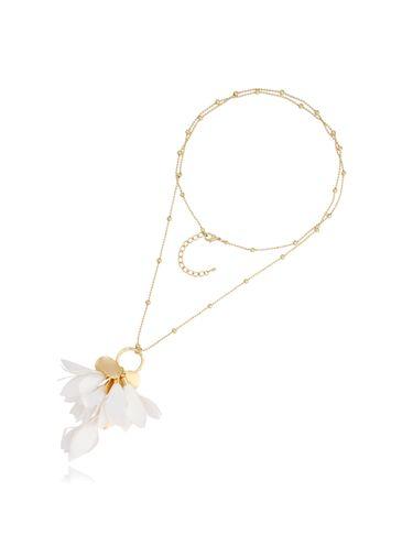 Naszyjnik złoty z kwiatem biały NBL0023