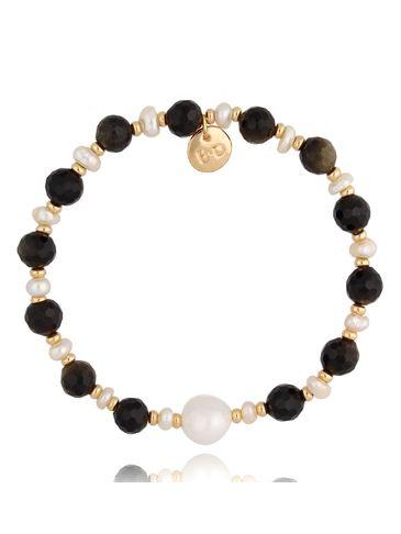Bransoletka złota z agatami i perłami, zdobiona perłą BPA0075