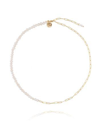 Naszyjnik złoty z perełkami i łańcuchem NPE0047