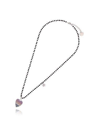 Naszyjnik ze szklanymi kryształkami i tęczowym sercem NMU0017