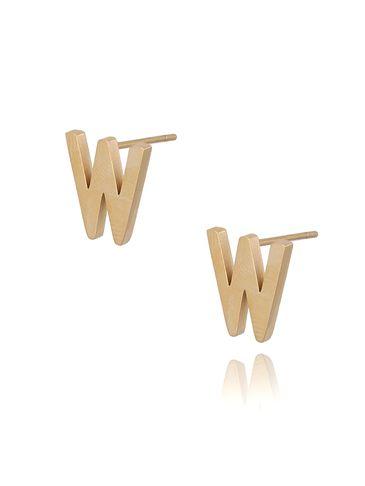 Kolczyki wkrętki złote  z literką  W KAT0067