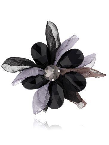 Broszka kwiat z kryształami szaro czarna BRBL0010