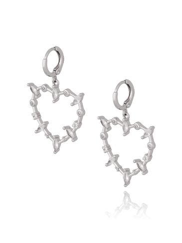Kolczyki serca srebrne z transparentnymi cyrkoniami KRG0593