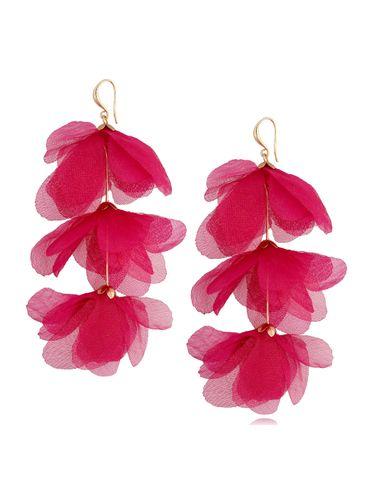Kolczyki jedwabne kwiaty potrójne fuksjowe KBL0789