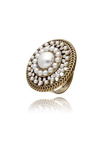 Pierścionek złota rozeta z perłami i kryształkami PTS0001