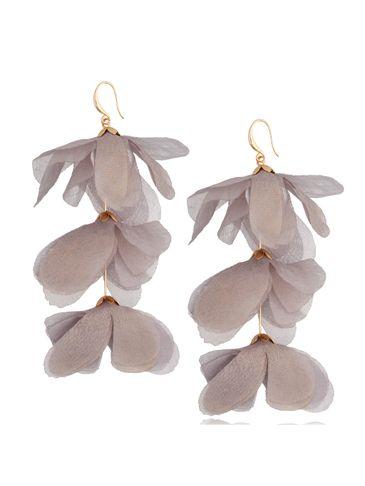 Kolczyki jedwabne kwiaty potrójne szare KBL0793