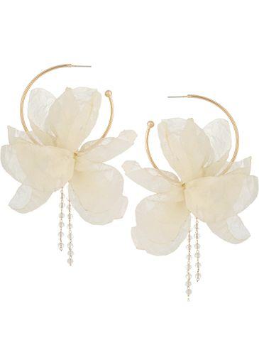 Kolczyki jedwabne kwiaty połyskujące kremowe KBL0808