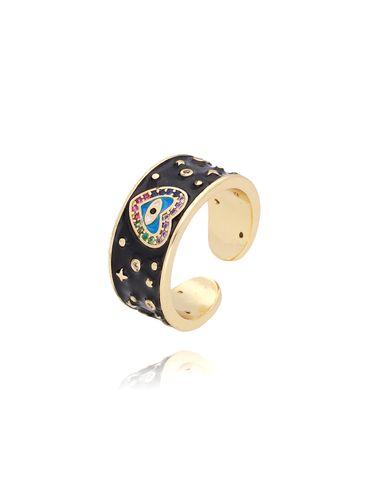 Pierścionek złoty z czarną emalią PCO005 rozmiar18