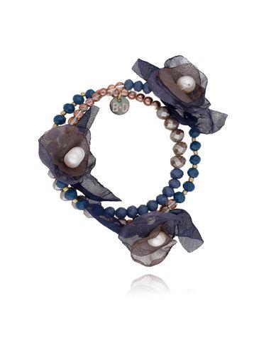 Bransoletka z kryształkami i  granatowo brązowymi kwiatami  BBL0150