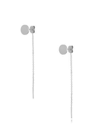 Kolczyki srebrne dyski z łańcuszkiem KSA0184