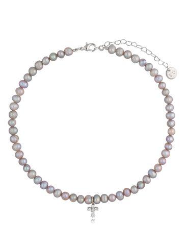 Naszyjnik z szarych pereł z zawieszką - krzyżyk Double Silver Pearls NPE0091