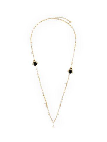 Naszyjnik z perłami i czarnymi owadami NMI0130