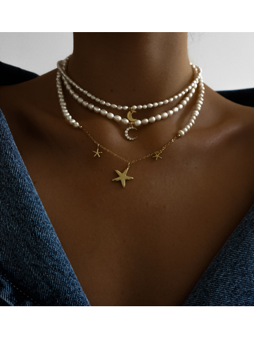 Naszyjnik złoty z perełek z ksieżycem NPE0023