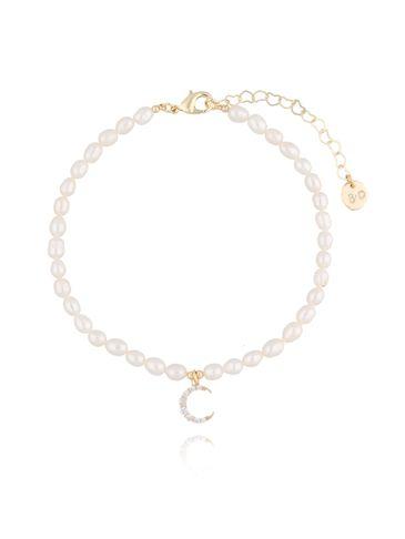 Bransoletka na nogę z perełkami i księżycem BNPE0006