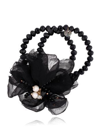 Bransoletka z kryształkami i  czarnym kwiatem  BBL0131