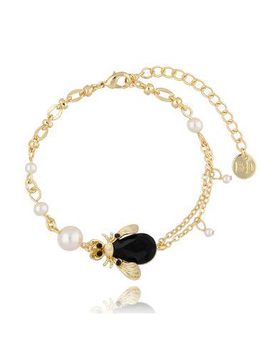 Bransoletka z perłami i czarnym owadem BMI0071