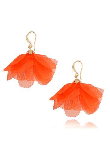 Kolczyki jedwabne kwiaty pomarańczowe neonowe KBL0853