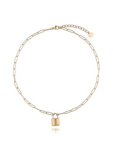 Naszyjnik złoty łańcuch z kłódką ze stali szlachetnej NSA0123