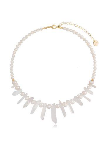 Naszyjnik z perłami i kryształami górskimi  NPA0379