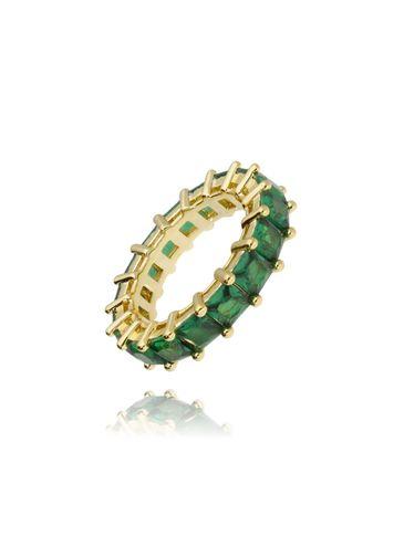 Pierścionek złoty z zielonymi kryształkami PRG0048 rozmiar 13
