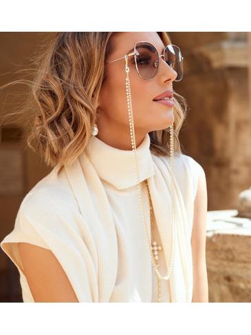Łańcuszek do okularów z perełkami złoty NRG0353