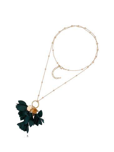 Naszyjnik złoty z kwiatem butelkowa zieleń NBL0019